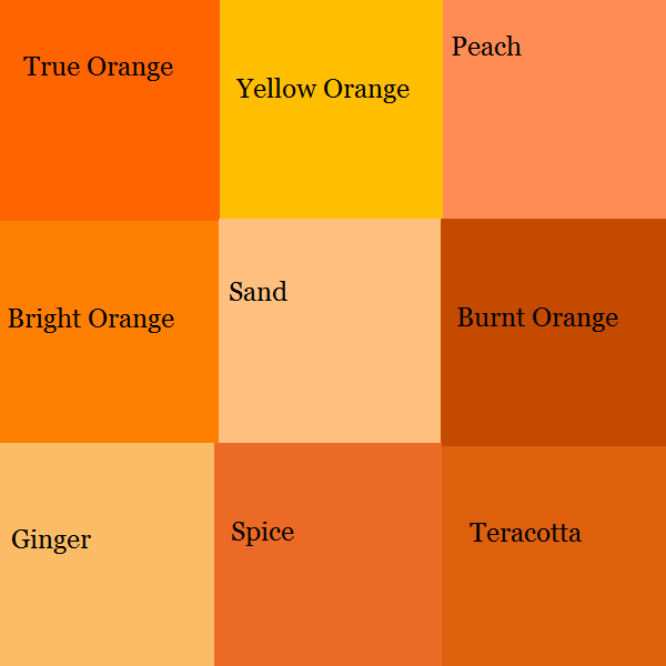 Color block depicting nine variants of orange